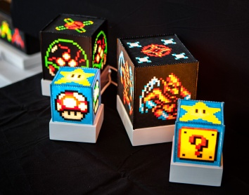 Perler bead lamps from Plind