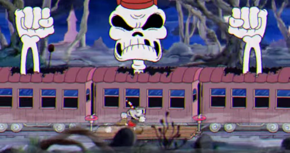 Cuphead screenshot Skeleton Train Boss