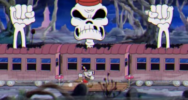 Cuphead screenshot Skeleton Train Boss