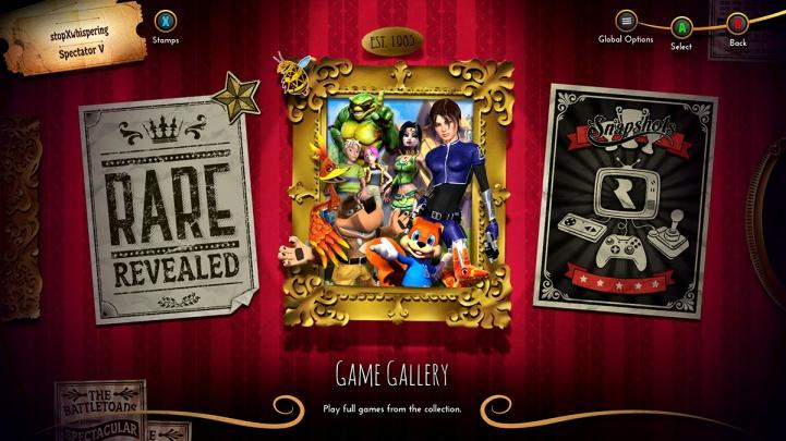 Rare Replay menu on Xbox One