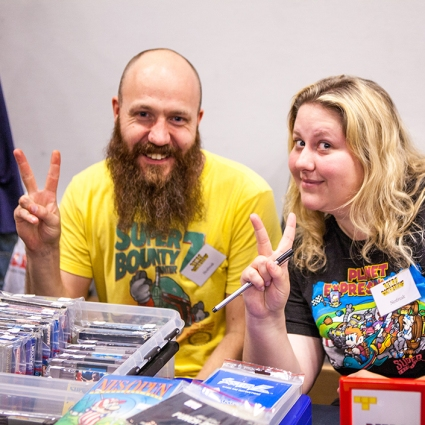 Friends selling at Retro Gathering