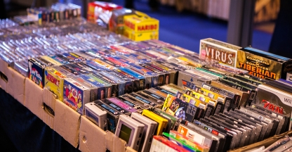 Boxed NES games for sale at Retrospelsfestivalen 2015