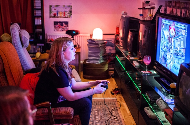 Becki playing Gitaroo Man on Playstation 2