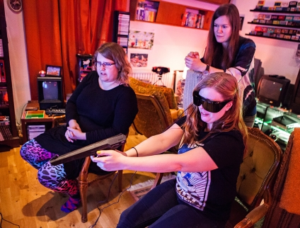 Becki playing Missile Defense 3-D