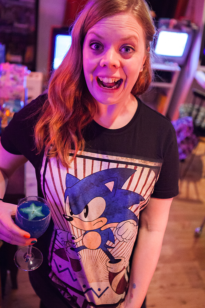 Becki with her Sonic drink and Sonic T-Shirt