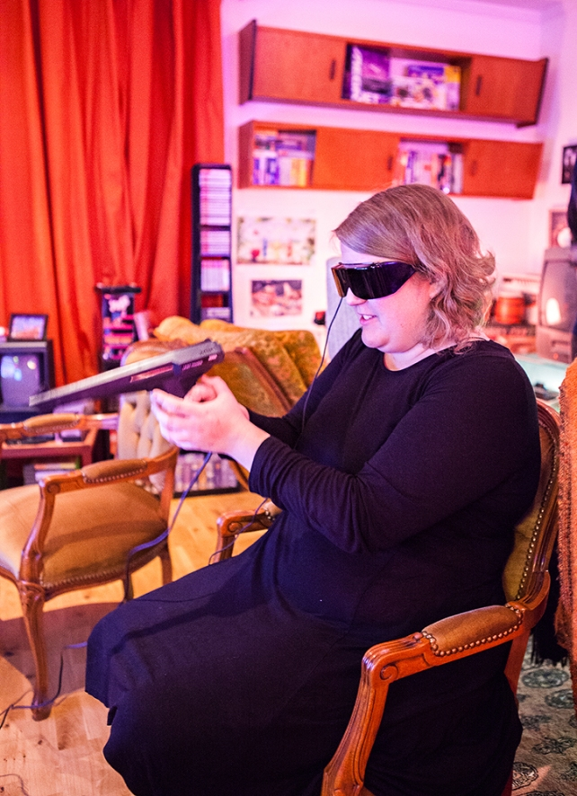 Linnea playing Missile Defense 3-D
