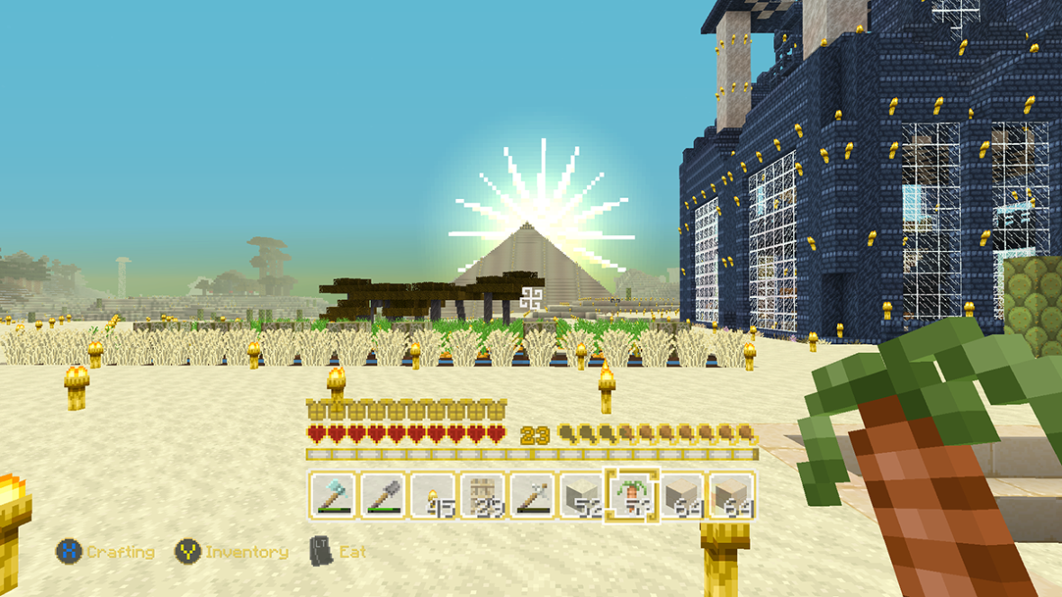 Minecraft Pyramid in sunset