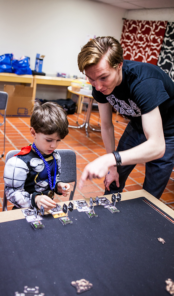 Kid playing Star Wars games