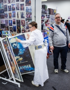 Leia browsing at Sci-Fi World