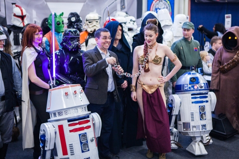 Mike Quinn with Star Wars cosplayers at Sci-Fi World