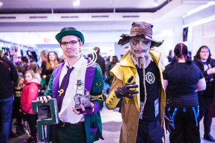 Riddler and Scarecrow cosplay at Sci-Fi World