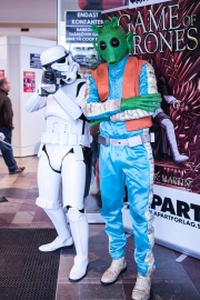 Storm trooper and Greedo cosplayer at Sci-Fi World