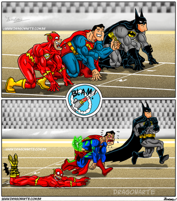 Flash VS Superman VS Batman running