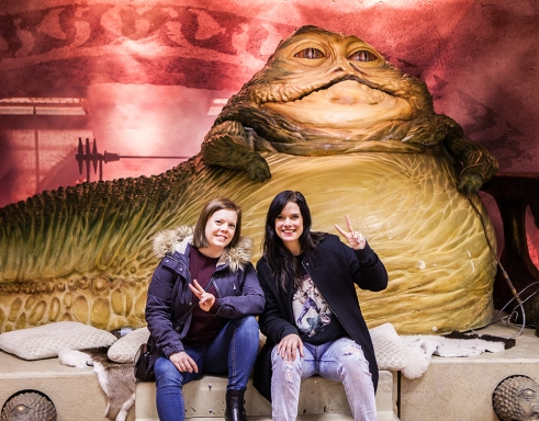 Becki & Heidi with Jabba the Hutt - Sci-Fi World
