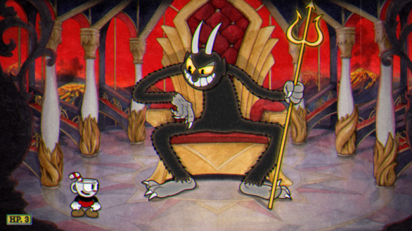 Cuphead dealing with the Devil